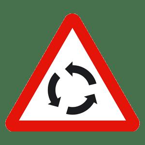 UK Roundabout Warning Sign